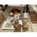 AN ASSORTMENT OF ITEMS TO INCLUDE COCKEREL BOOK ENDS, PLACE MATS AND SHELLEY SAUCERS