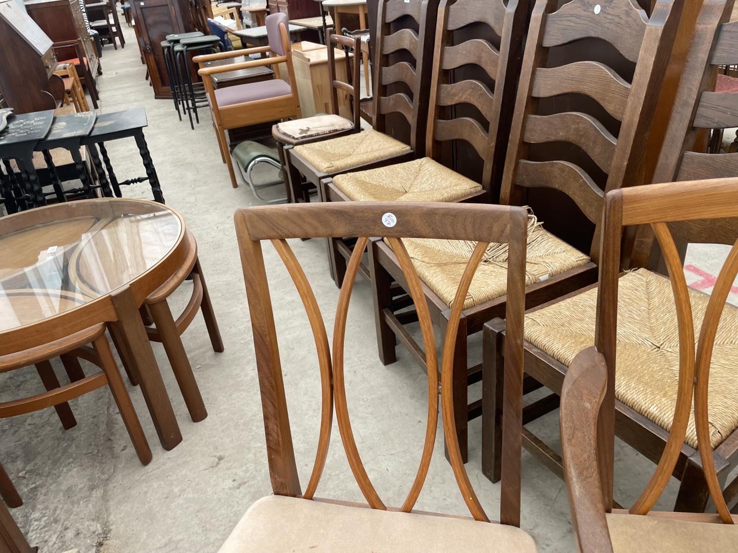 """A RETRO TEAK G-PLAN EXTENDING DINING TABLE, 64X41"""" (EXTRA LEAF 18""""), ON WHALE FIN LEGS, TOGETHER - Image 8 of 10"""