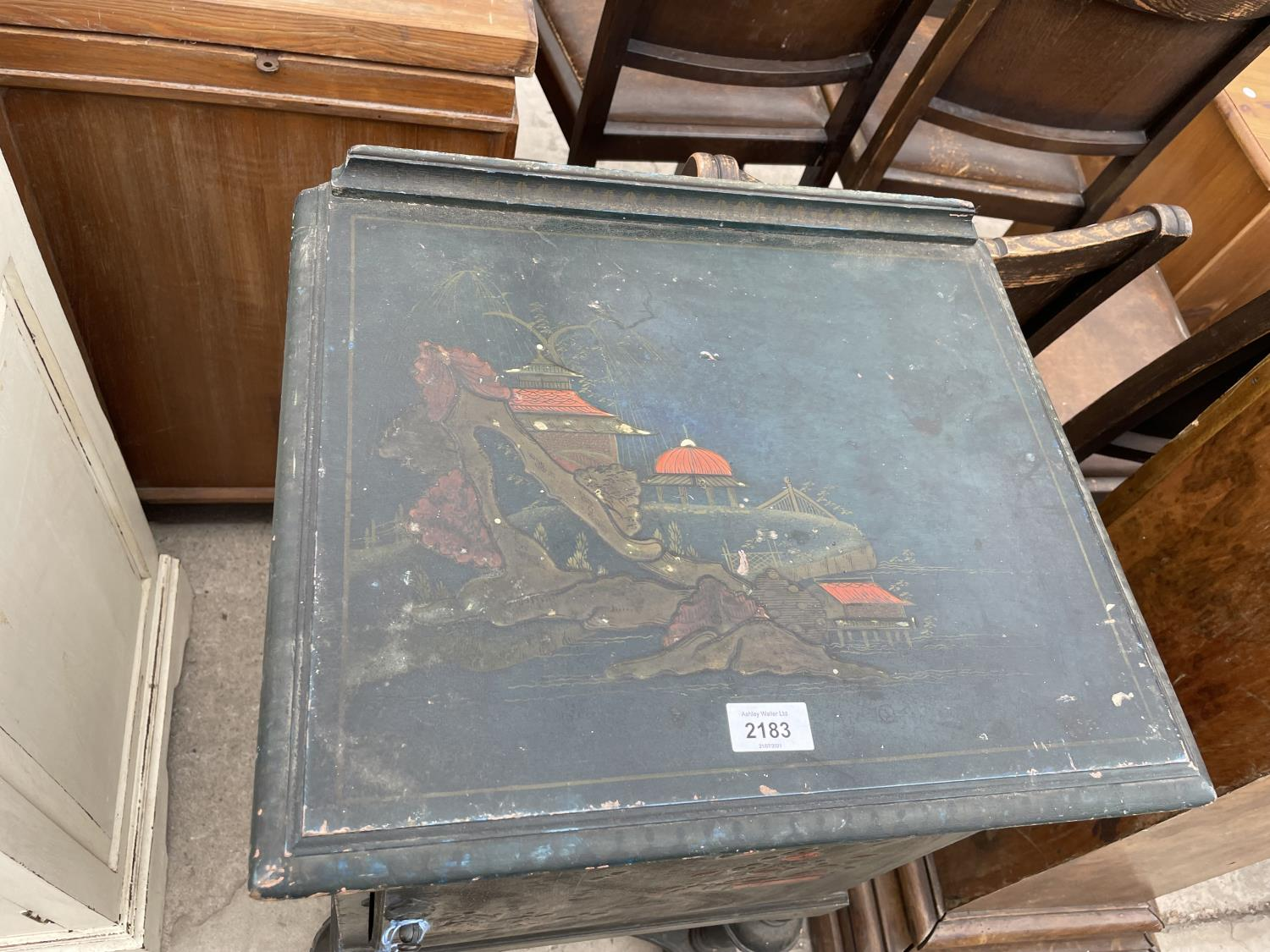 A 20TH CENTURY CHINOISERIE BEDSIDE CABINET ON OPEN BASE, WITH TURNED LEGS - Image 2 of 7