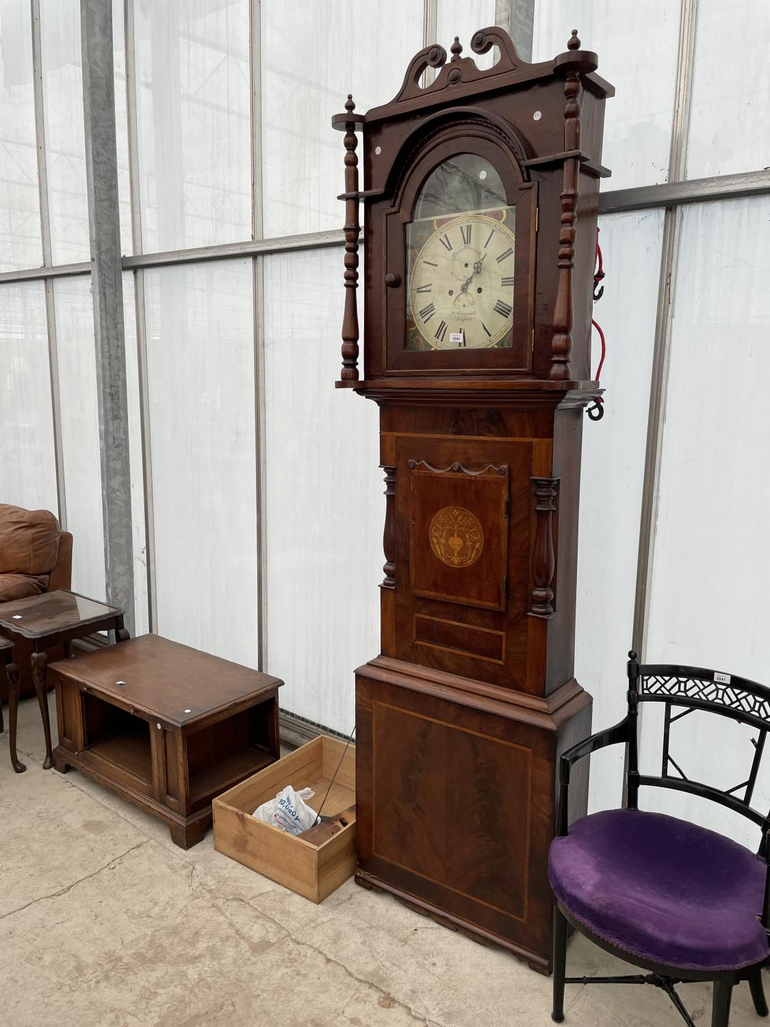 A 19TH CENTURY AND LATER EIGHT DAY MAHOGANY AND INLAID LONGCASE CLOCK WITH ENAMEL DIAL (GROUNDS,