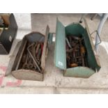 AN ASSORTMENT OF TOOLS TO INCLUDE SPANNERS AND BRACE DRILLS ETC