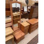 A MODERN PINE CHEVAL MIRROR AND BEDSIDE CHEST