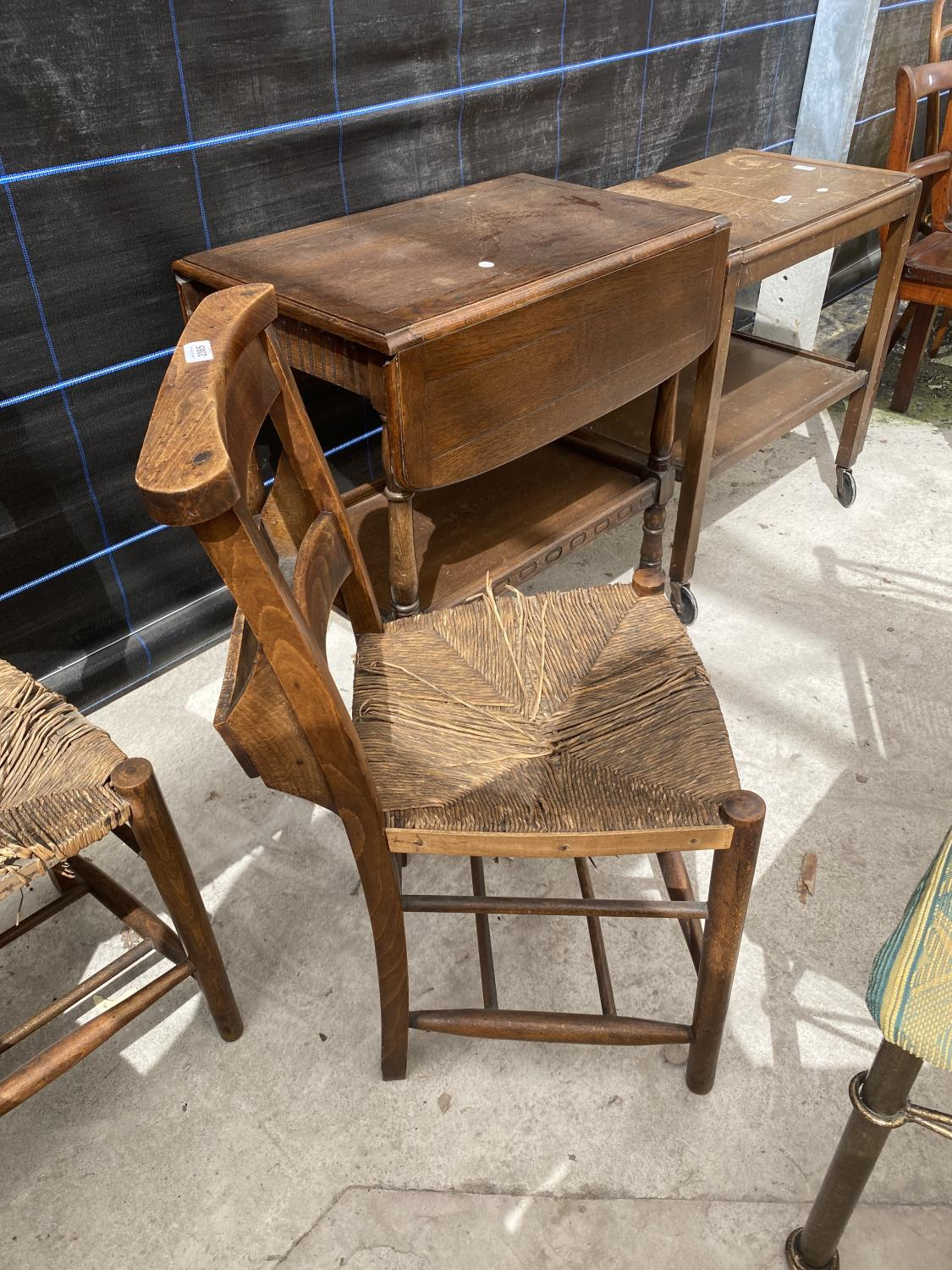 FOUR BEECH FRAMED CHAPEL CHAIRS WITH RUSH SEATS - Image 5 of 5