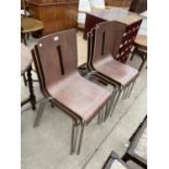 A SET OF SIX BENTWOOD STACKING CHAIRS ON TUBULAR CHROME FRAMES