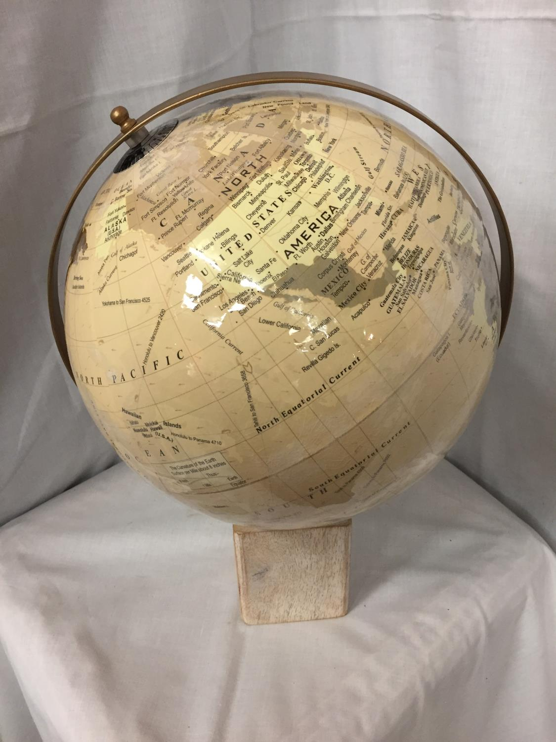 A LARGE GLOBE ON A WOODEN BASE - Image 2 of 3