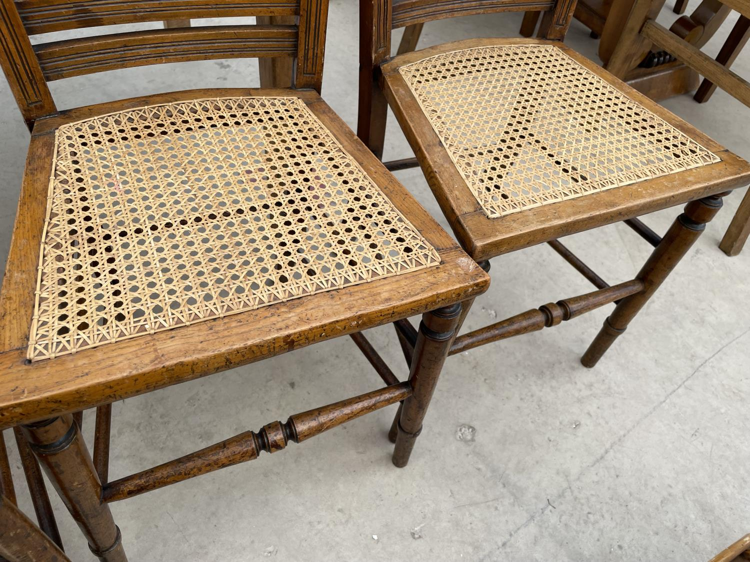 A SET OF FOUR EDWARDIAN BEDROOM CHAIRS WITH CANE SEATS - Image 5 of 5