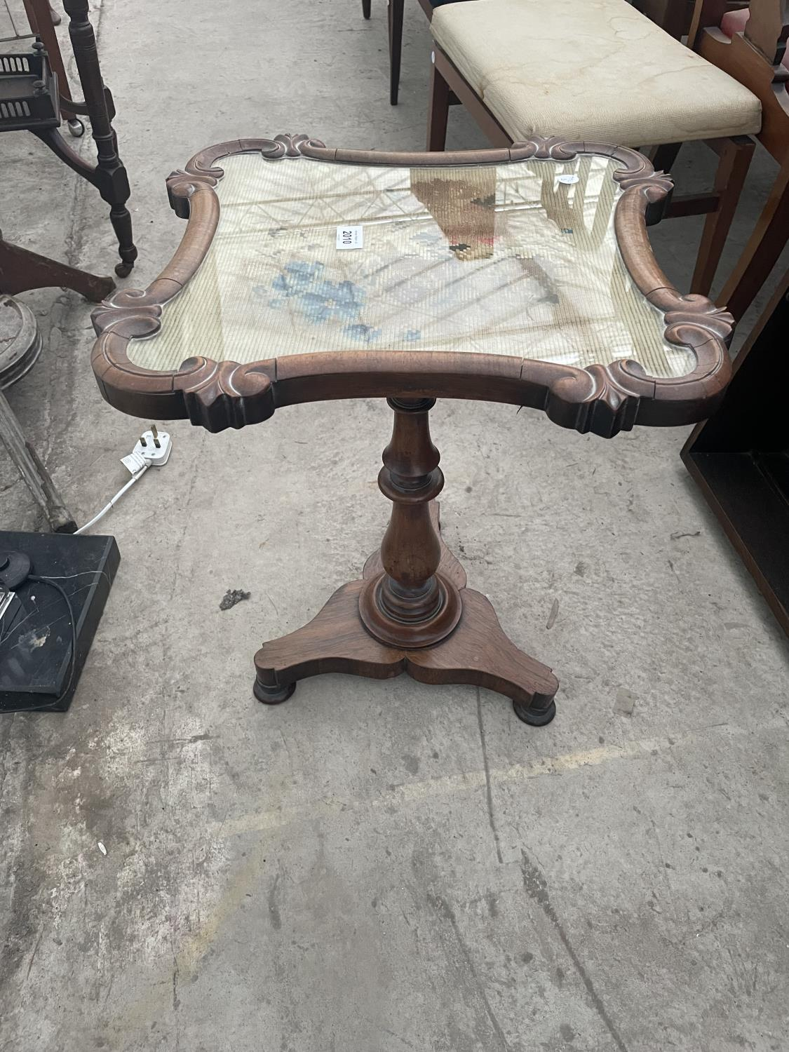 """A VICTORIAN WALNUT TAPESTRY POLE SCREEN, 18X17"""" (CONVERTED TO OCCASIONAL TABLE)"""