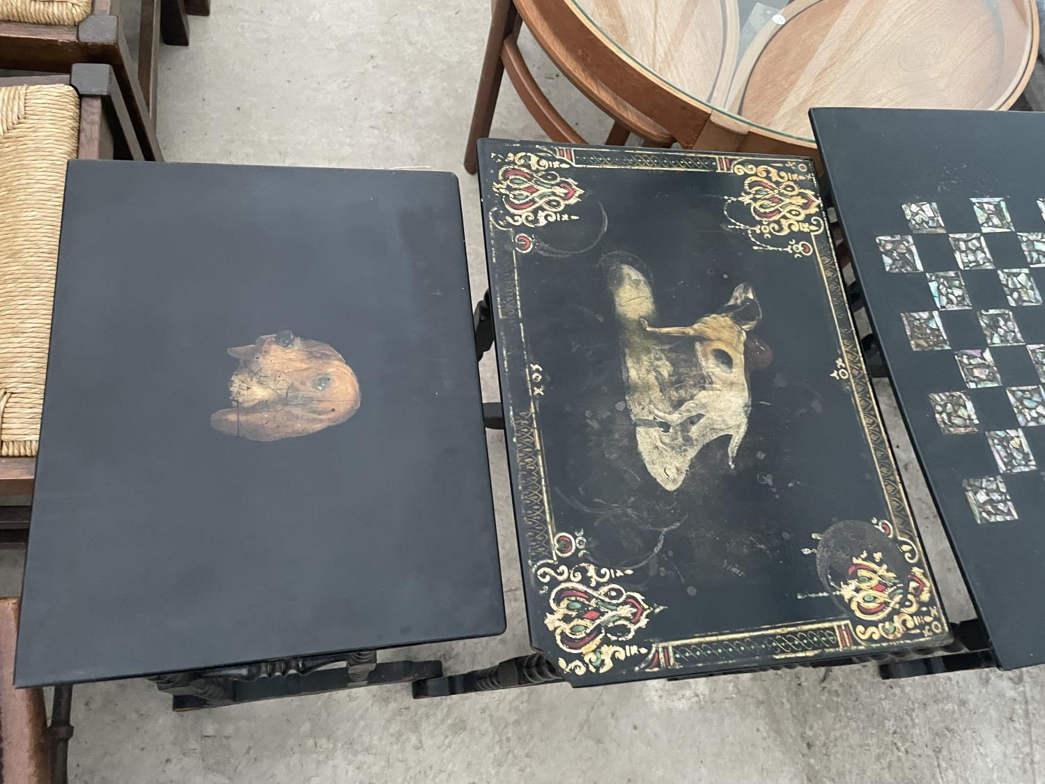 A NEST OF FOUR EBONISED AND PAPIER MACHE TABLES, THREE TABLES BEARING HUNTING IMAGE AND ONE WITH - Image 2 of 9