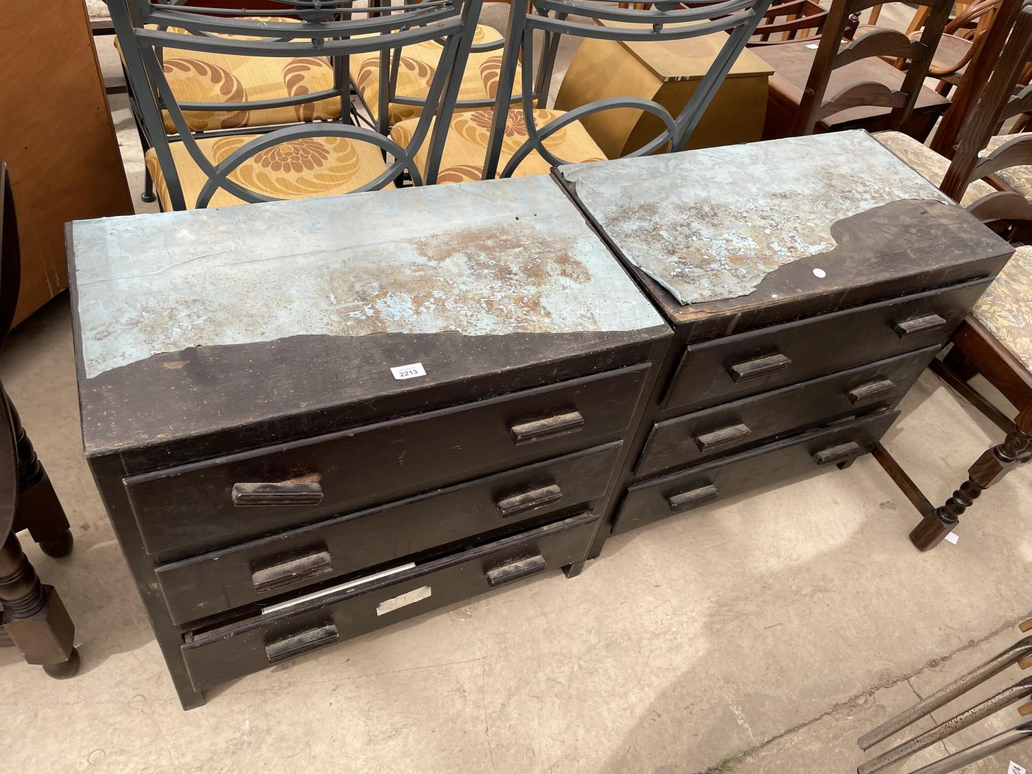 A PAIR OF PAINTED THREE DRAWER CHESTS