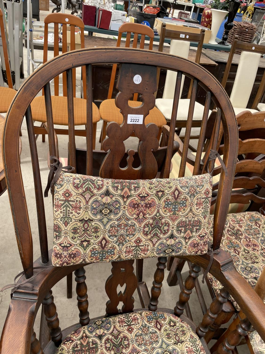 A REPRODUCTION WINDSOR ROCKING CHAIR WITH TURNED UPRIGHTS, BEARING LABEL 'R.E.FORSTER, WARRINGTON' - Image 2 of 5