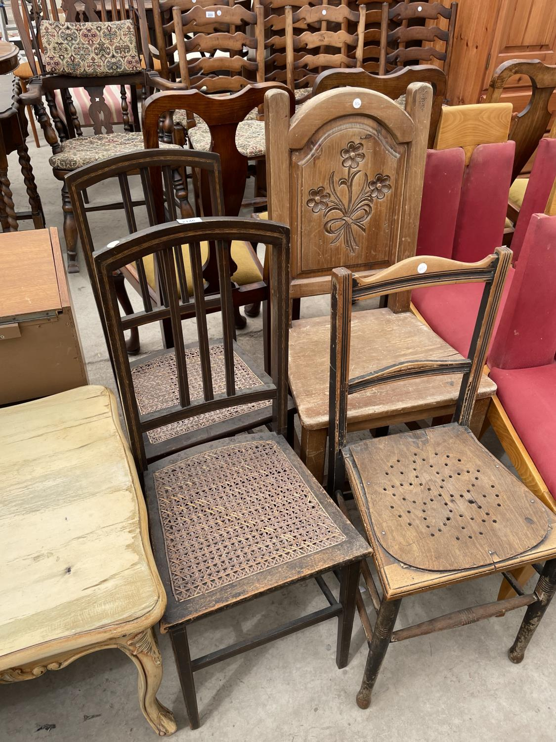 THREE VARIOUS BEDROOM CHAIRS AND CARVED BEECH HALL CHAIR