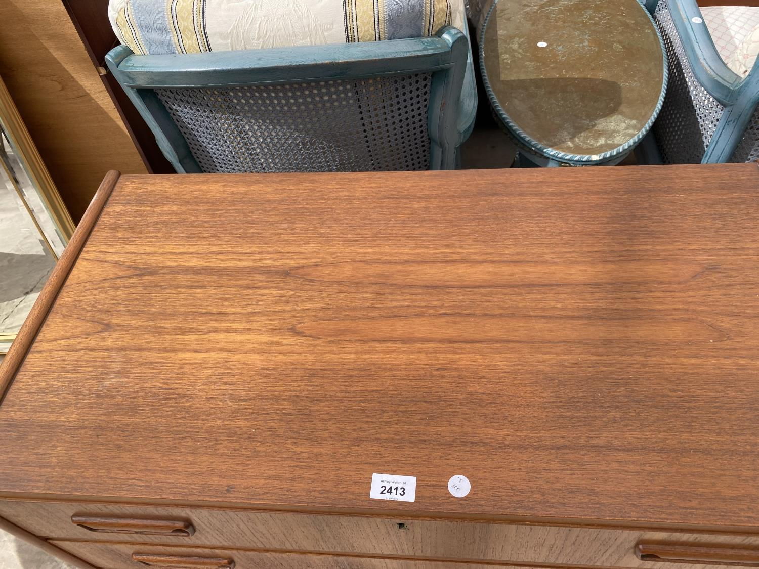 """A RETRO TEAK CHEST OF THREE DRAWERS BEARING STAMP 'MADE IN DENMARK, DESIGNED BY TIBERGAARD', 33.5"""" - Image 2 of 3"""