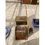 A BRASS LOG BOX, A WOODEN COAL BOX A MIRROR AND AN OIL LAMP