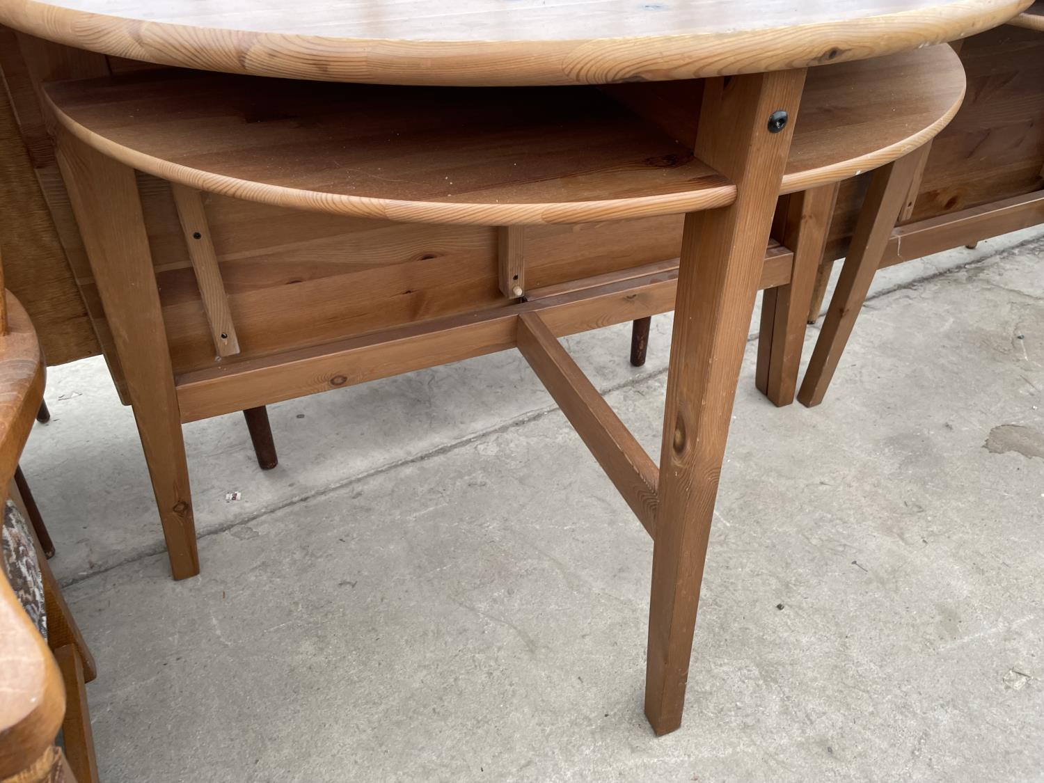 TWO PINE DROP LEAF TABLES - Image 3 of 5