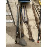AN ASSORTMENT OF TOOLS TO INCLUDE A PIPE BENDER, SASH CLAMPS ETC