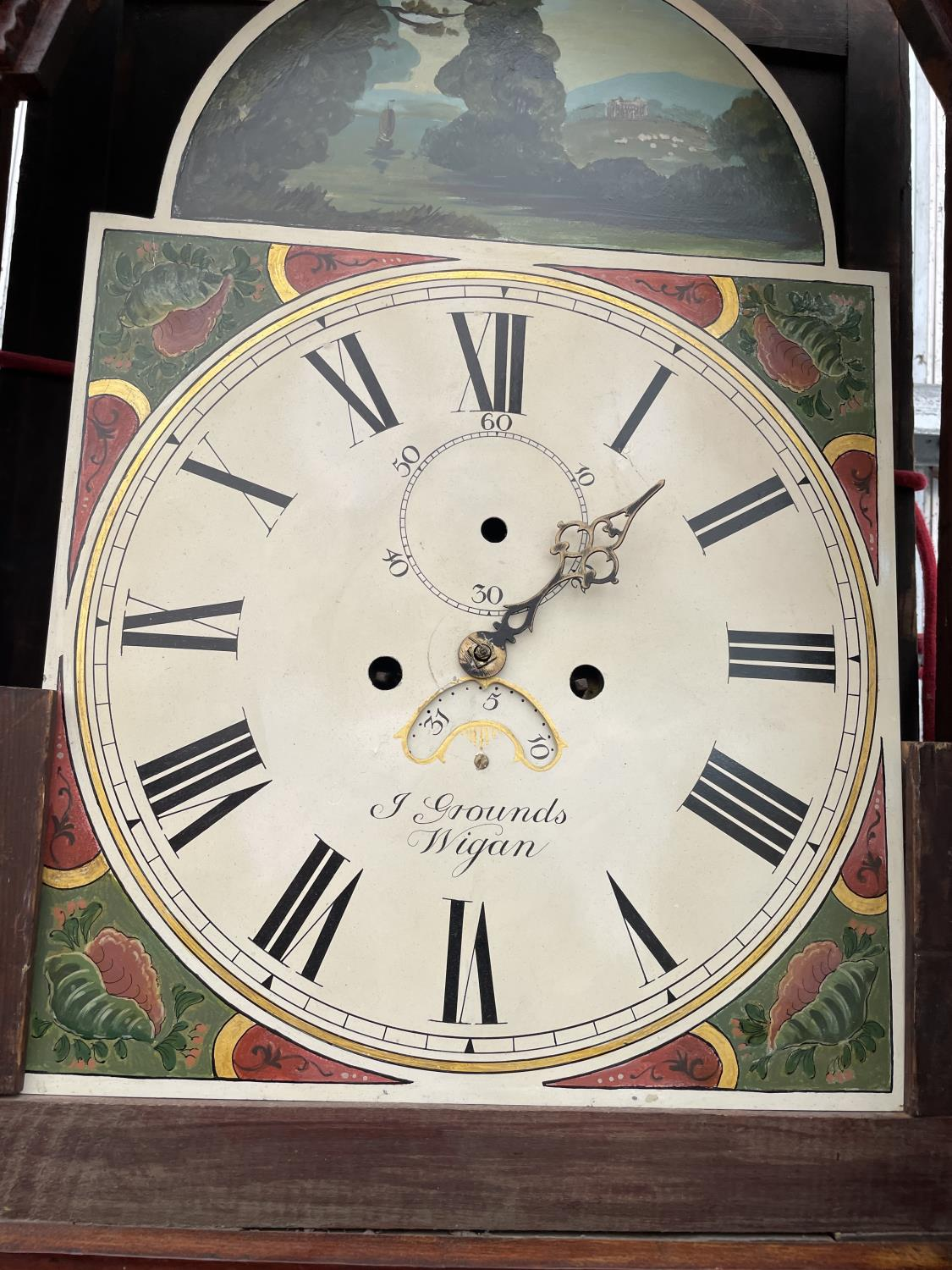A 19TH CENTURY AND LATER EIGHT DAY MAHOGANY AND INLAID LONGCASE CLOCK WITH ENAMEL DIAL (GROUNDS, - Image 3 of 8