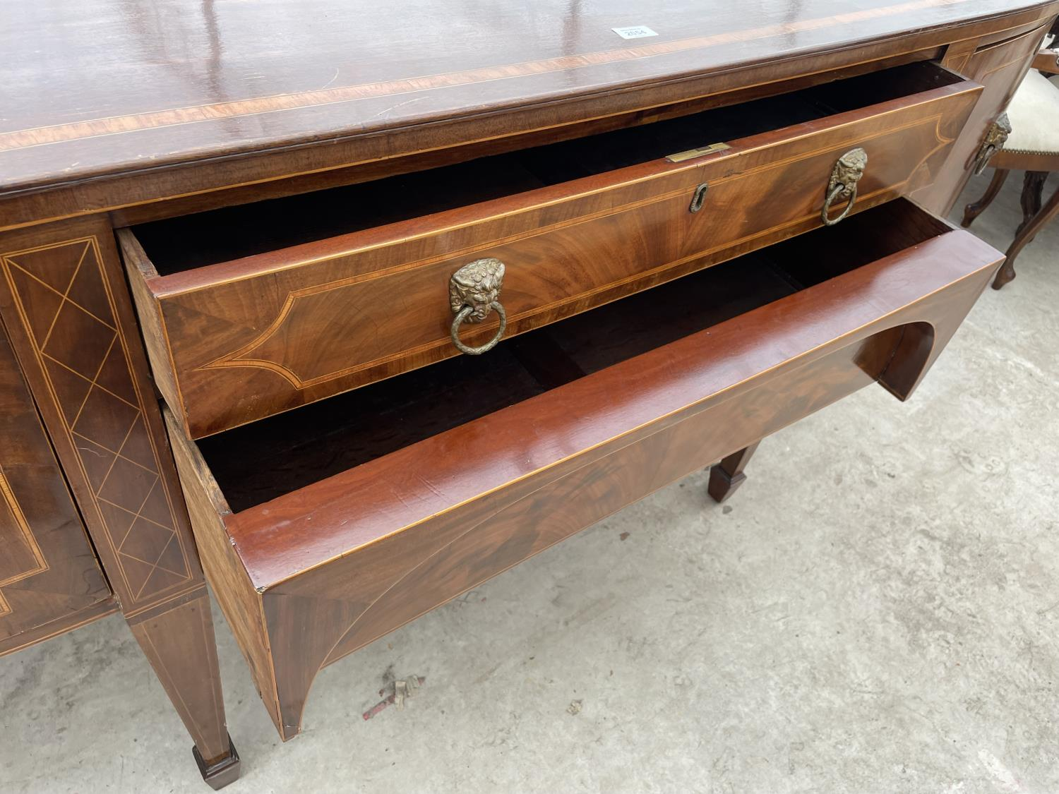 """A 19TH CENTURY MAHOGANY BOWFRONTED SIDEBOARD ON TAPERED LEGS, WITH SPADE FEET, 78"""" - Image 8 of 10"""