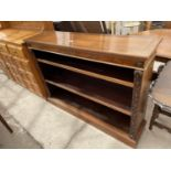 """A VICTORIAN WALNUT AND INLAID THREE TIER OPEN BOOKCASE, 52"""" WIDE"""