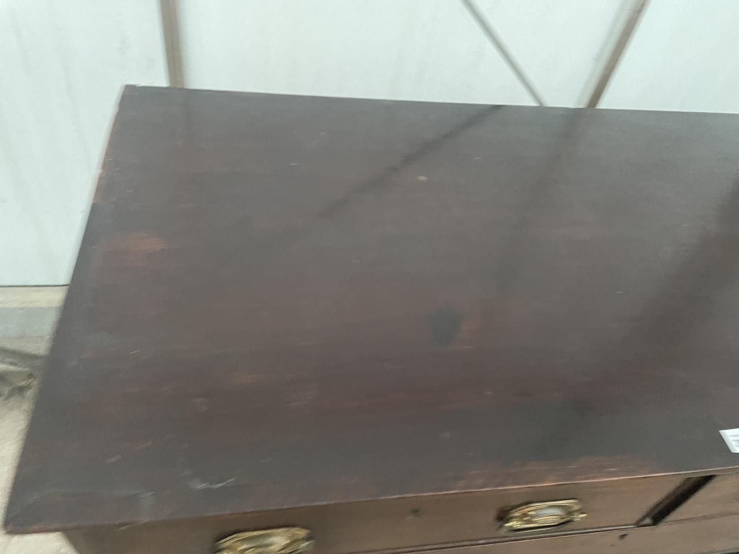 """A 19TH CENTURY MAHOGANY CHEST OF TWO SHORT AND THREE LONG GRADUATED DRAWERS, 46.5"""" WIDE - Image 2 of 9"""