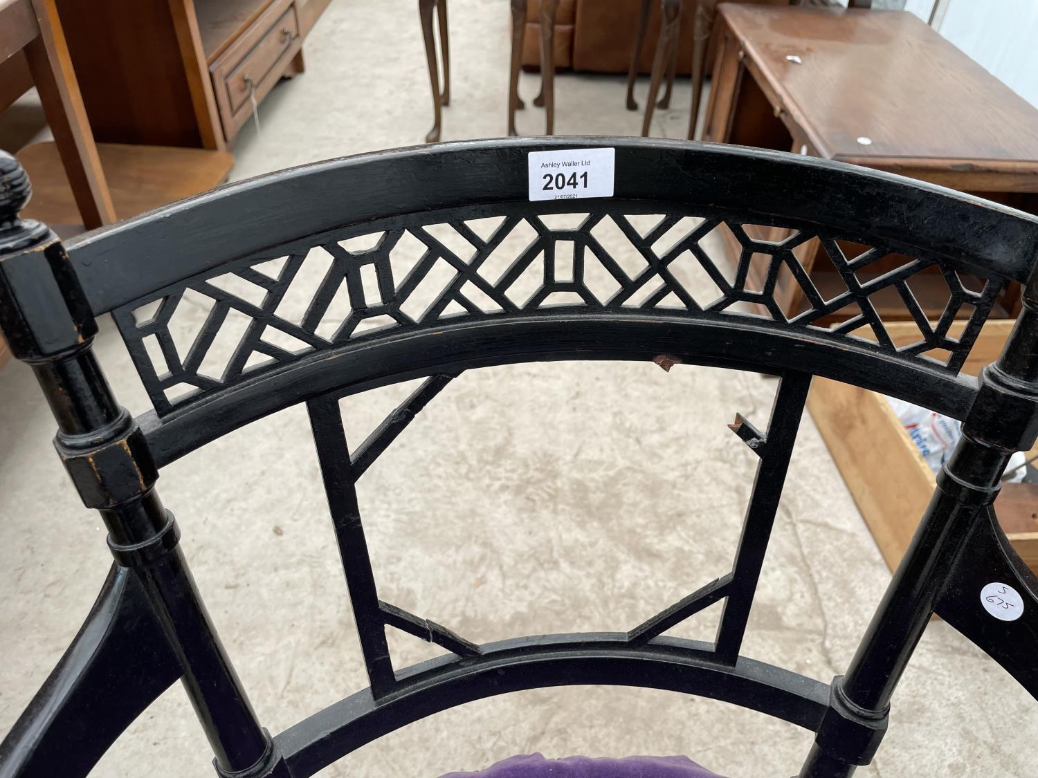 AN ARTS & CRAFTS BLACK PAINTED ELBOW CHAIR A/F - Image 2 of 4