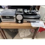 AN ASSORTMENT OF ITEMS TO INCLUDE AN LG VHS PLAYER, STEEPLETONE STEREO AND SPEAKERS ETC