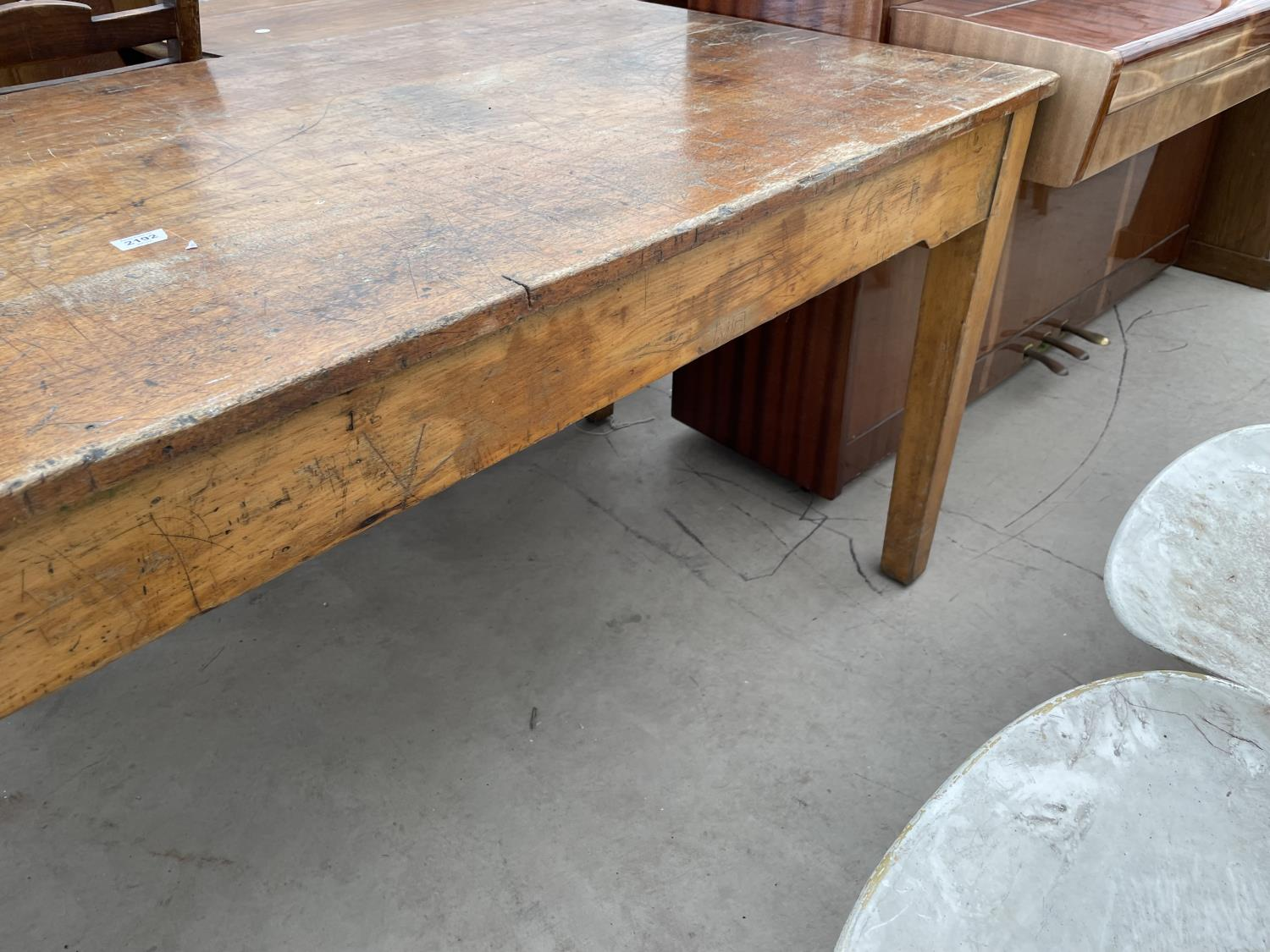 """A MID 20TH CENTURY SCHOOL/FUNCTION TABLE, 72X30"""", STAMPED J.R. TAYLOR, WIGAN (L.C.C.B.P.) - Image 5 of 5"""