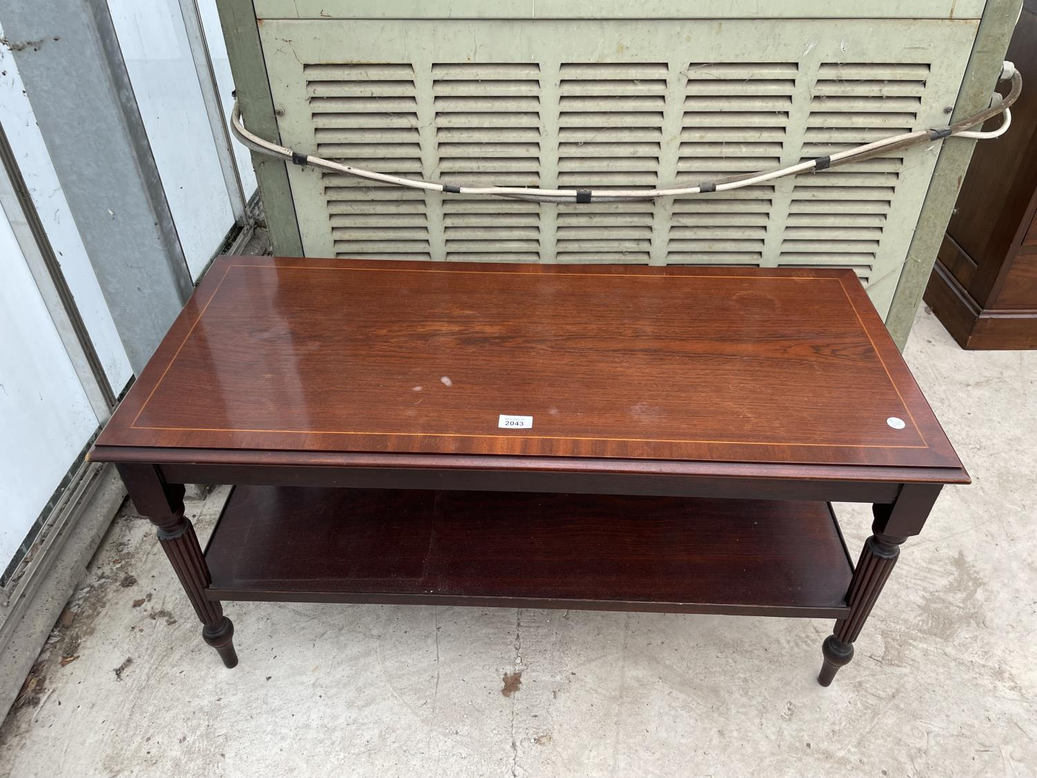 A MODERN MAHOGANY AND INLAID TWO TIER COFFEE TABLE