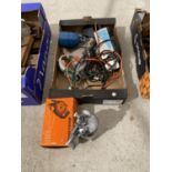 AN ASSORTMENT OF TOOLS TO INCLUDE AN ELECTRIC WOOD PLANE, COMPRESSOR FITTINGS ETC