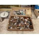 AN ASSORTMENT OF HARDWARE ITEMS TO INCLUDE SCREWS, PLUGS AND SHELVING BRACKETS ETC