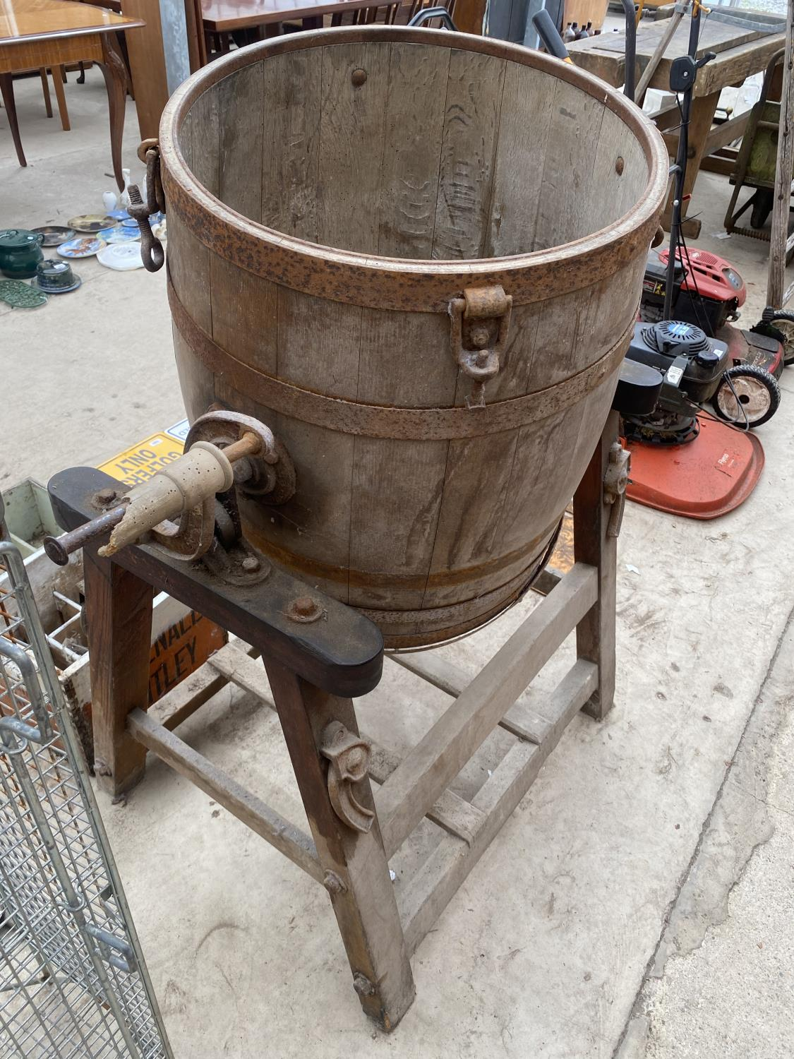A LARGE VINTAGE BUTTER CHURN WITH STAND - Image 5 of 6