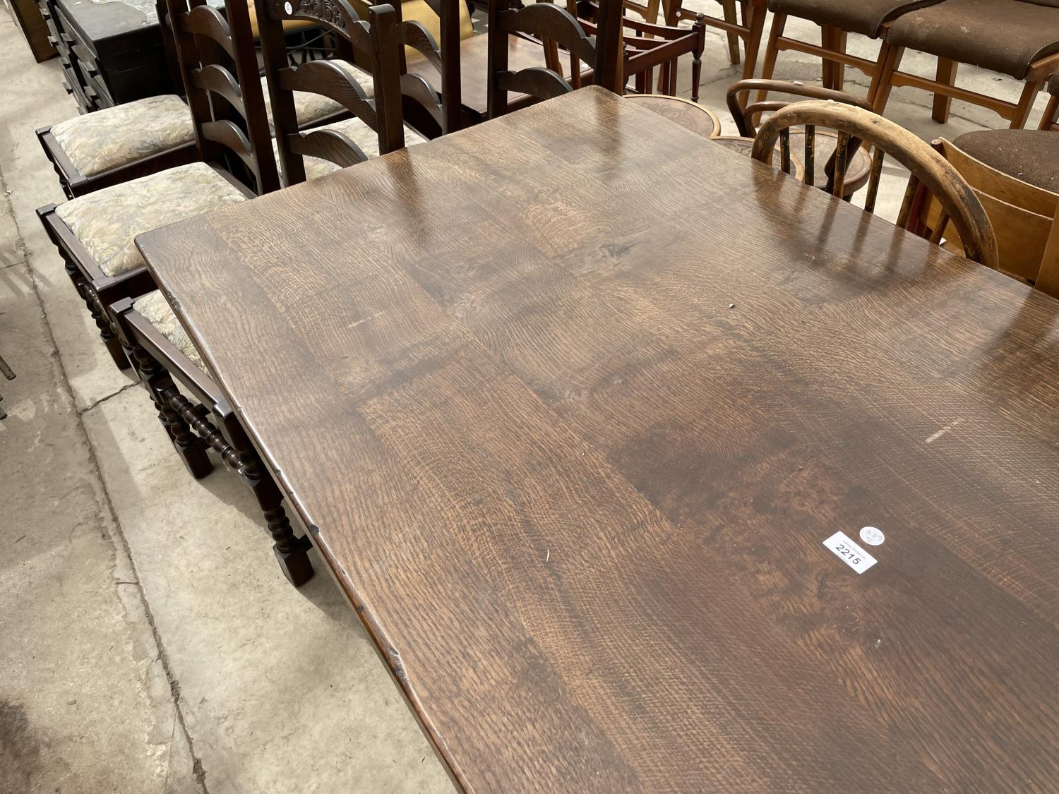"""A GEORGIAN STYLE OAK REFECTORY DINING TABLE ON TURNED LEGS, 72X32"""" - Image 2 of 4"""