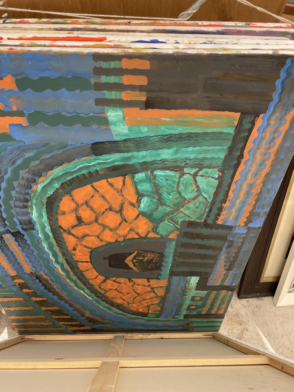 AN ASSORTMENT OF UNFRAMED PAINT ON CANVAS PICTURES - Image 9 of 14