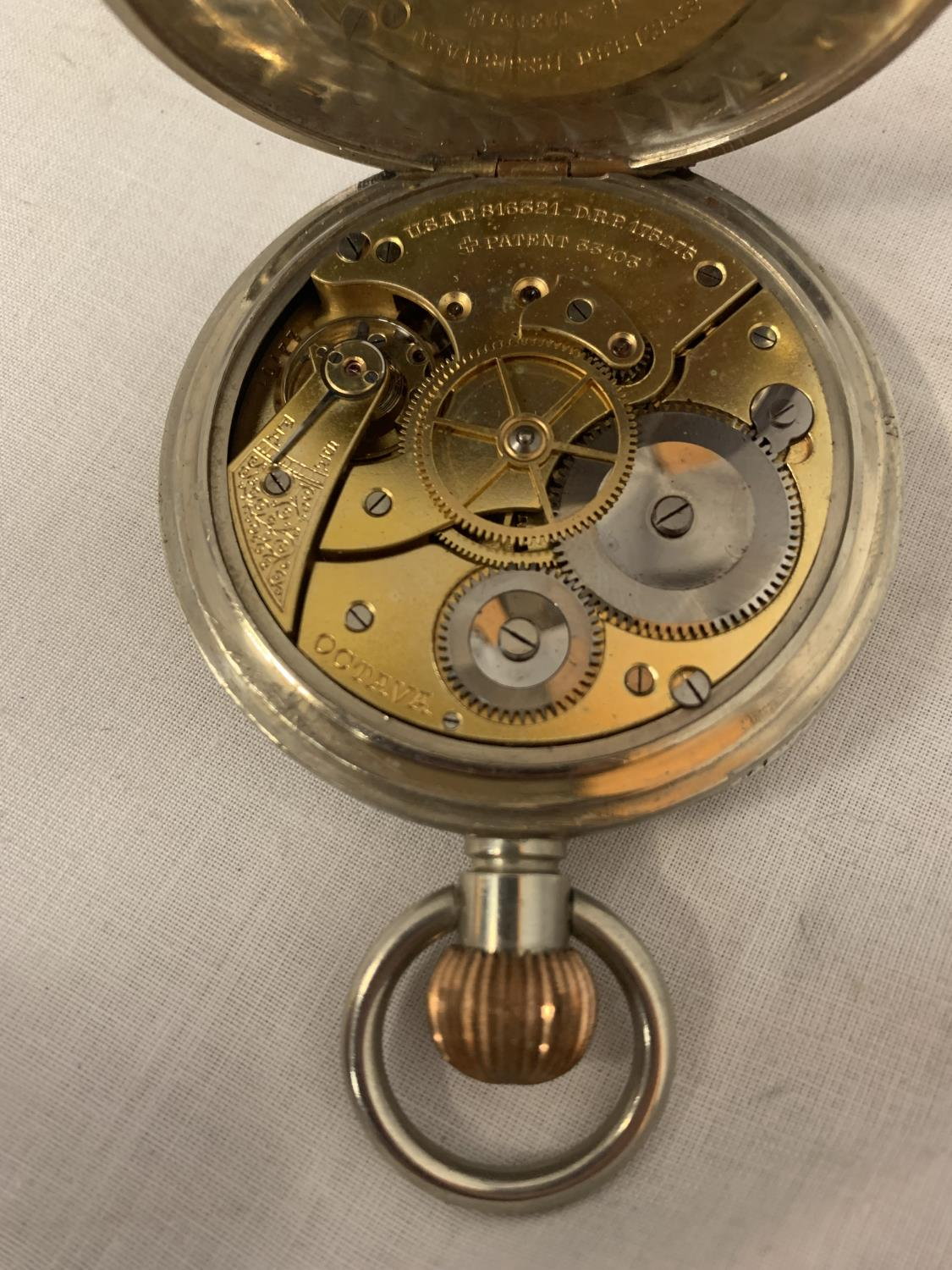 A GOLIATH POCKET WATCH, NO HANDS BUT MOVEMENT WORKING AT TIME OF CATALOGING IN A FITTED WALKER AND - Image 5 of 5