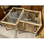 TWO BAMBOO AND WICKER COFFEE TABLES WITH GLASS TOPS