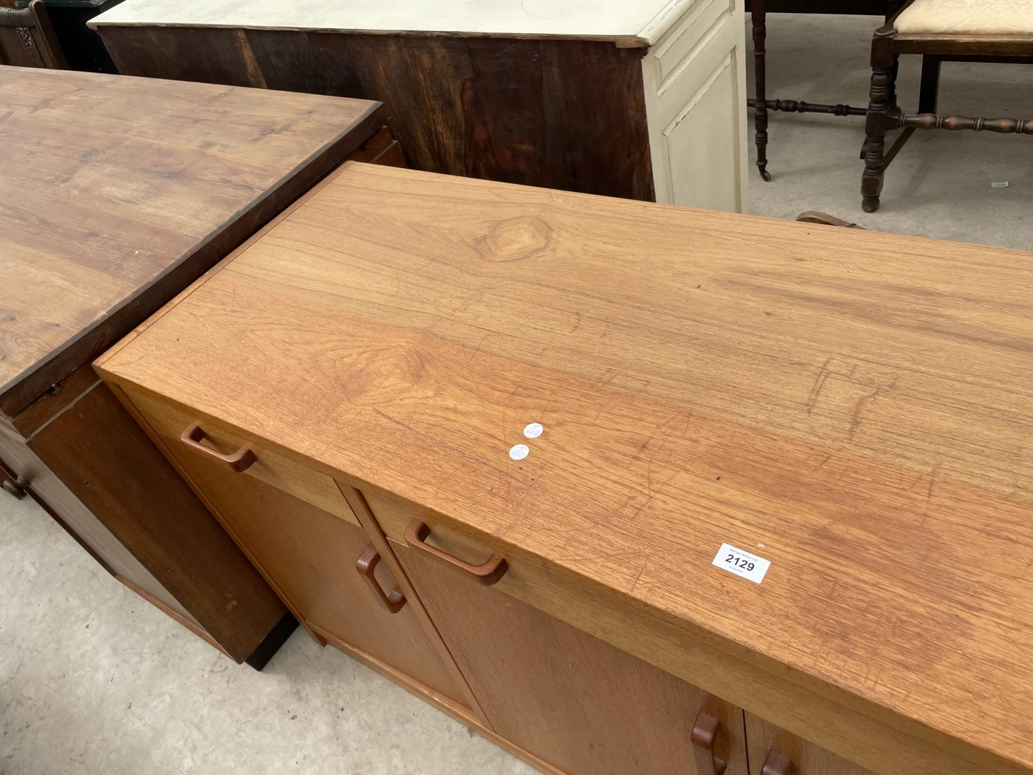 """A RETRO TEAK SIDEBOARD ENCLOSING FOUR CUPBOARDS, THREE DRAWERS, 67"""" WIDE - Image 3 of 5"""