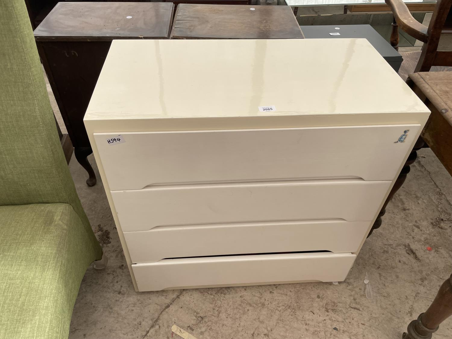 """A PAINTED CHEST OF THREE DRAWERS, 30"""" WIDE"""