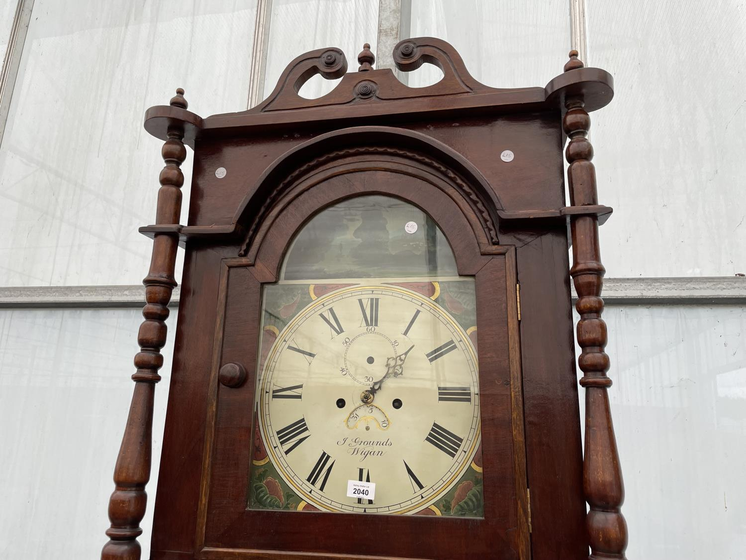 A 19TH CENTURY AND LATER EIGHT DAY MAHOGANY AND INLAID LONGCASE CLOCK WITH ENAMEL DIAL (GROUNDS, - Image 2 of 8