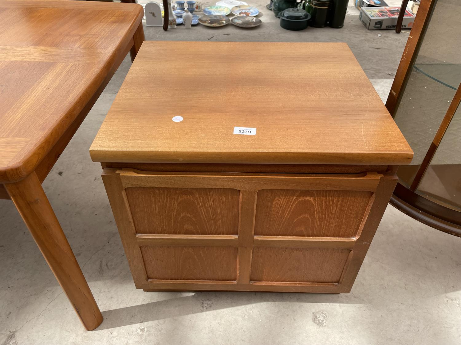 """A RETRO TEAK PARKER KNOLL LOW CABINET WITH SINGLE PANELLED DOOR, 20.5"""" WIDE"""