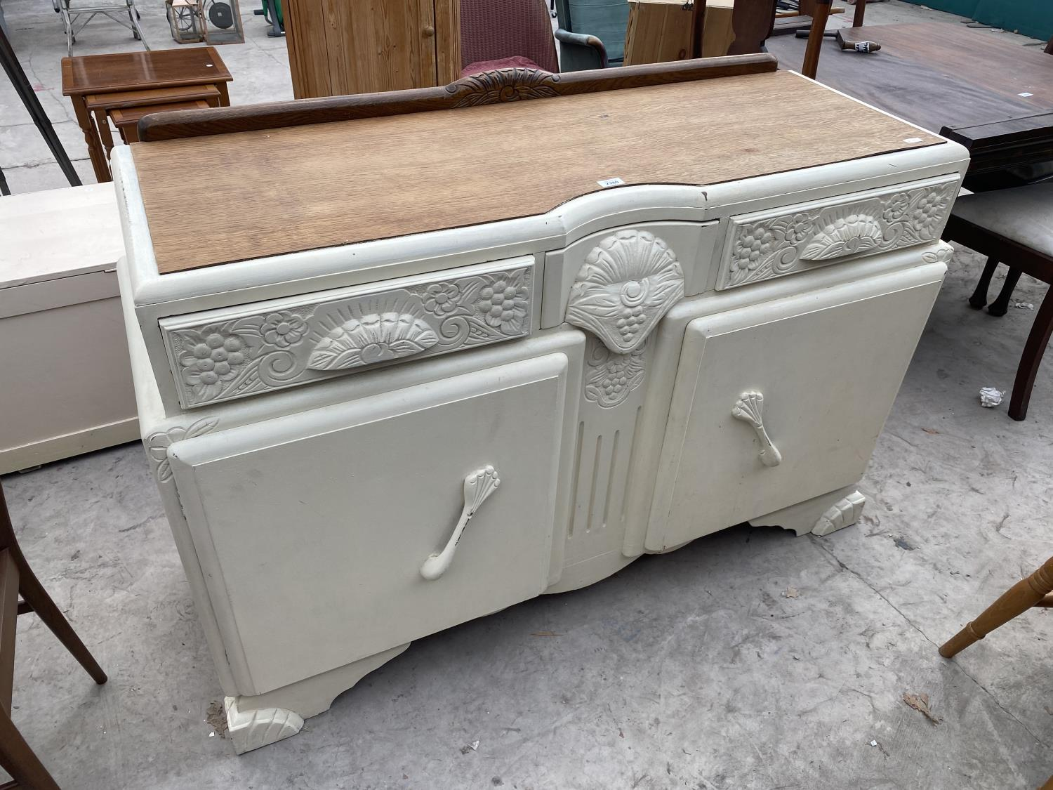 """AN EARLY 20TH CENTURY OAK SIDEBOARD WITH SHABBY CHIC PAINTING, 54"""" WIDE"""