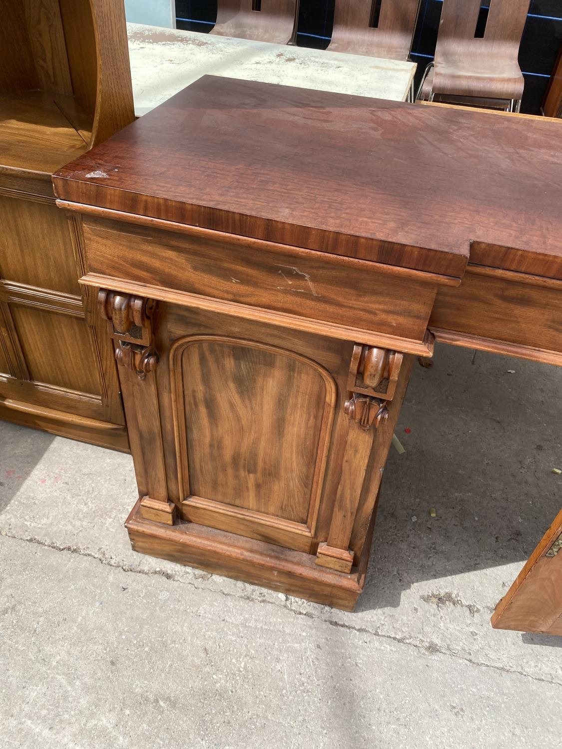 """A VICTORIAN INVERTED BREAKFRONT MAHOGANY DOUBLE PEDESTAL SIDEBOARD, 72"""" WIDE - Image 3 of 5"""