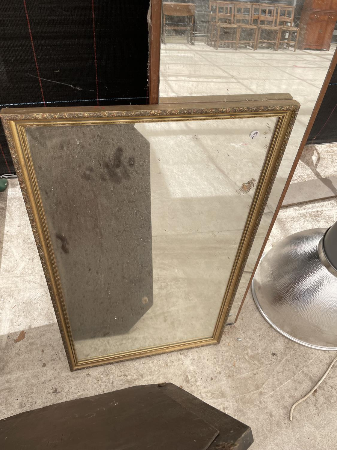 A GILT FRAMED MIRROR AND A FURTHER DECORATIVE WOODEN FRAMED BEVELED EDGE MIRROR AND A FULL LENGTH - Image 3 of 6
