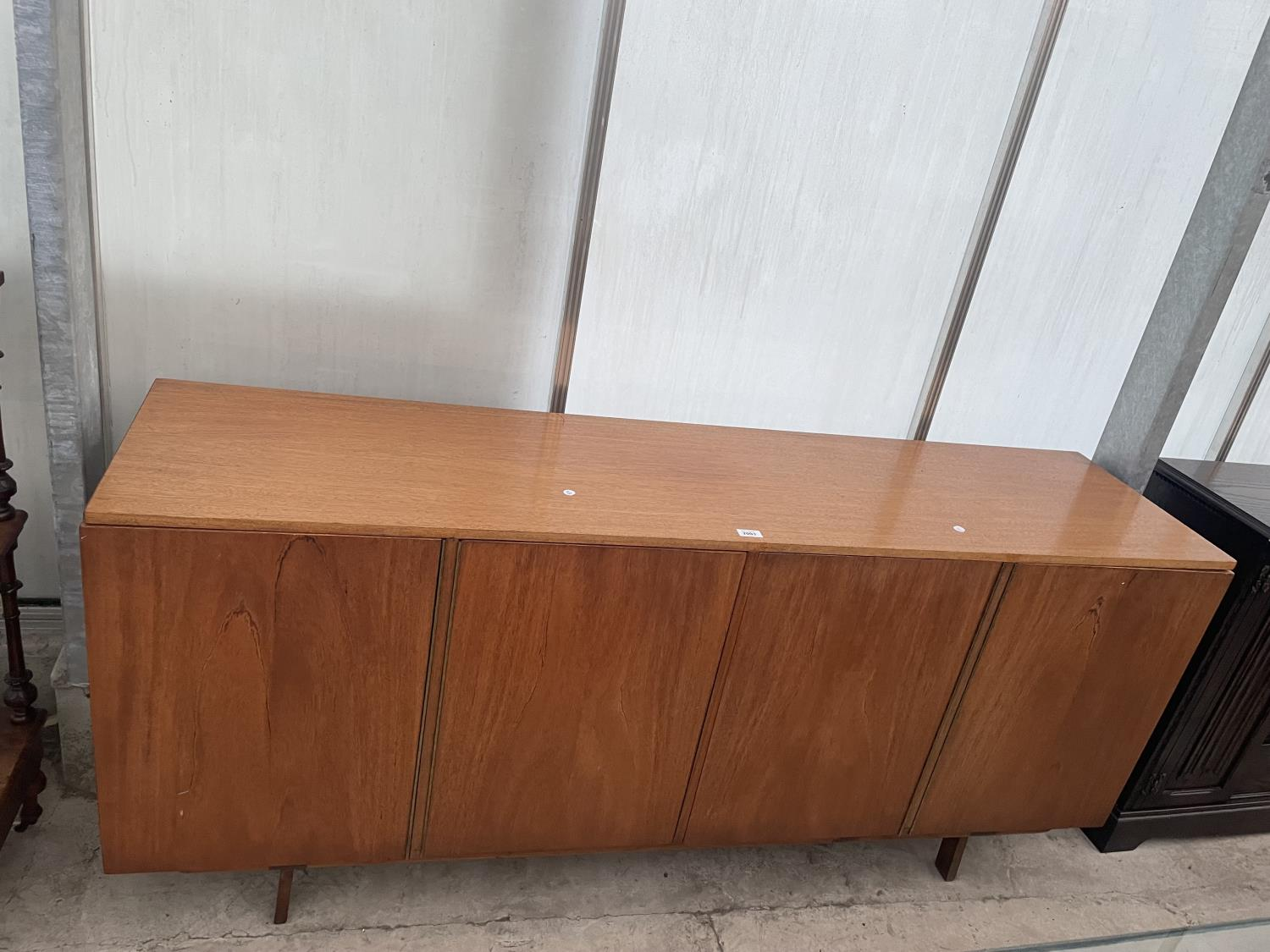 """A RETRO TEAK SIDEBOARD WITH FOUR PUSH RELEASE DOORS, 72"""" WIDE"""