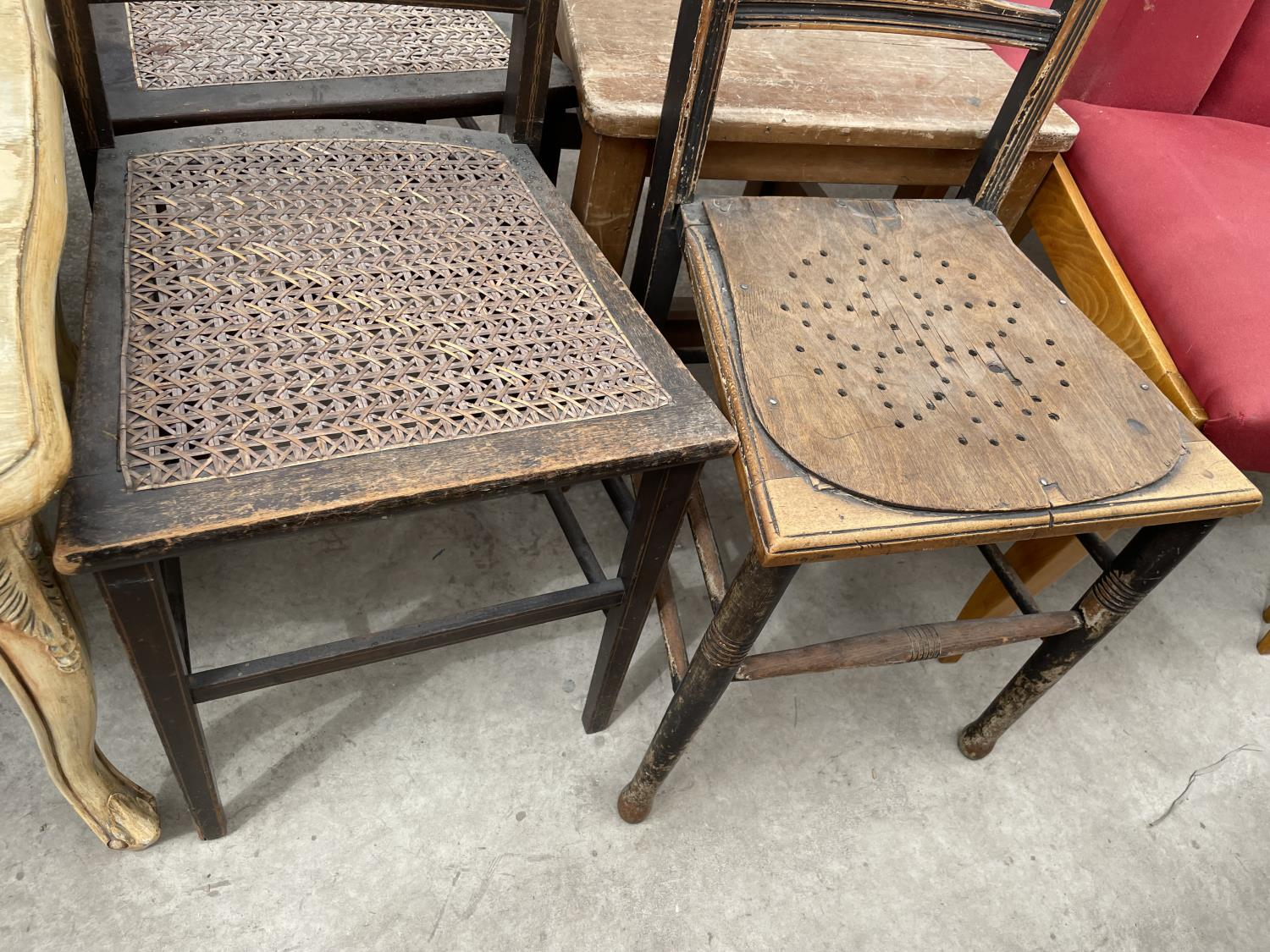 THREE VARIOUS BEDROOM CHAIRS AND CARVED BEECH HALL CHAIR - Image 3 of 4