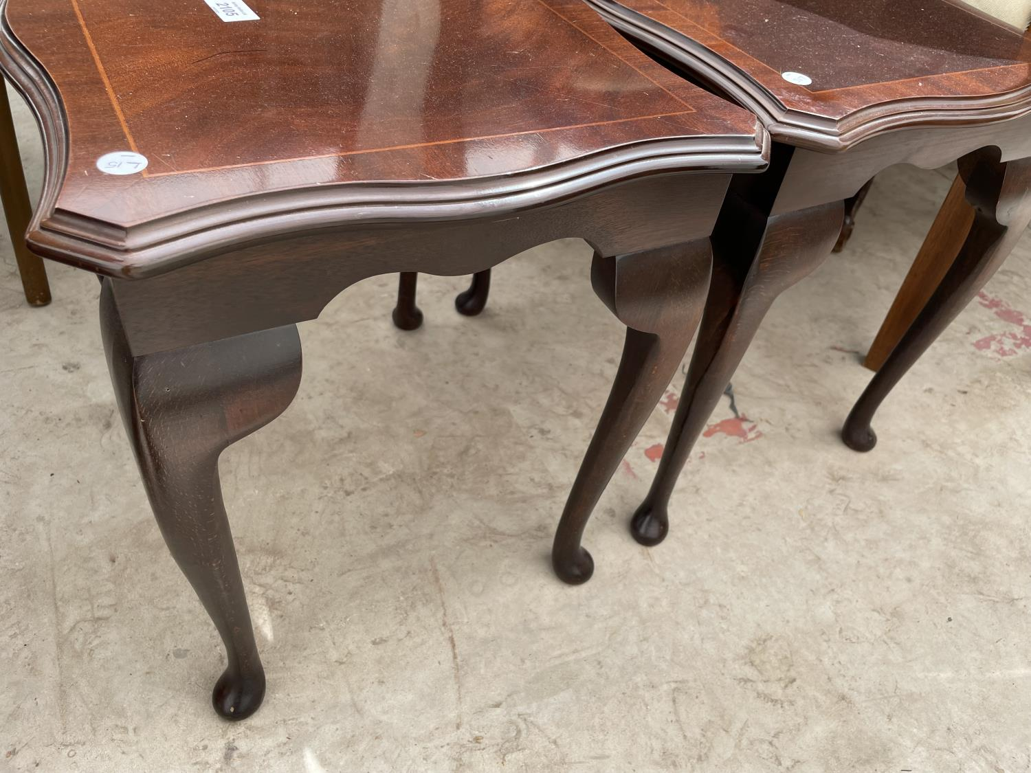 """A PAIR OF MAHOGANY AND INLAID LAMP TABLES, 18.5X15.5"""" - Image 3 of 3"""