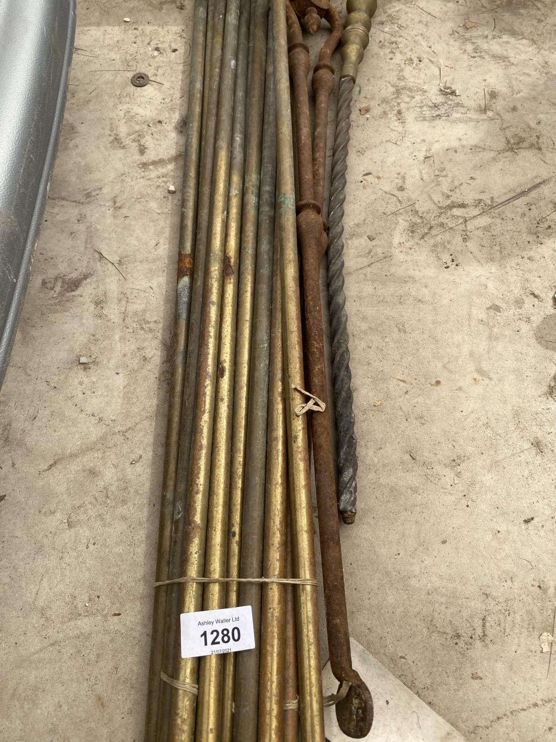 A QUANTITY OF BRASS BARS ANDD A FIRE POKER ETC - Image 3 of 4