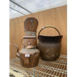A GROUP OF THREE COPPER ITEMS TO INCLUDE A KETTLE, A COAL BUCKET AND A COAL SKUTTLE
