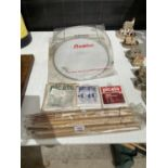 AN ASSORTMENT OF DRUM RELATED ITEMS TO INCLUDE DRUM STICKS AND SKINS ETC