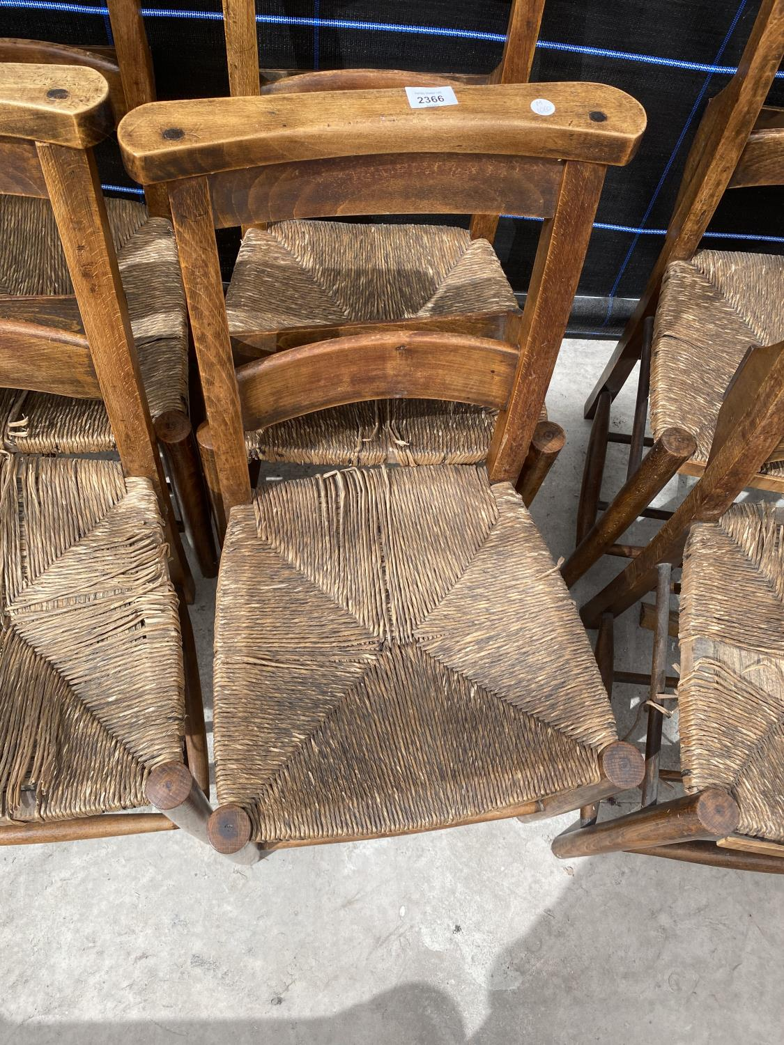 FOUR BEECH FRAMED CHAPEL CHAIRS WITH RUSH SEATS - Image 3 of 5