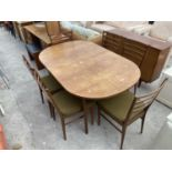 """A SET OF SIX RETRO TEAK 'MEREDEW' LADDER BACK DINING CHAIRS AND EXTENDING DINING TABLE, 58X36"""" ("""