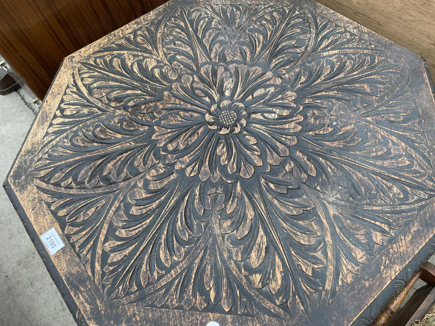 A HEAVILY CARVED VICTORIAN OAK OCTAGONAL TWO TIER OCCASIONAL TABLE - Image 2 of 5